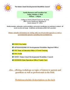 Family Resource & Transition Fair @ College of Staten Island - Building 1P | New York | United States