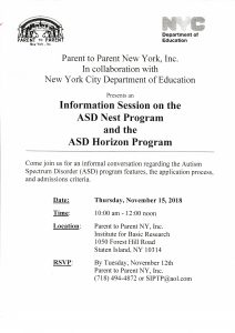 "Parent to Parent NY ""Information Session on the ASD Nest & ASD Horizon Programs"" @ Institute for Basic Research"
