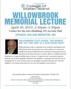 Willowbrook Memorial Lecture @ Center for the Arts - CSI Campus